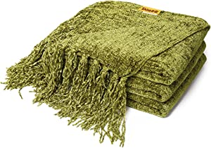 DOZZZ Fluffy Chenille Knitted Throw Blanket with Decorative Fringe For Home Decor Bed Sofa Couch Chair Olive Green