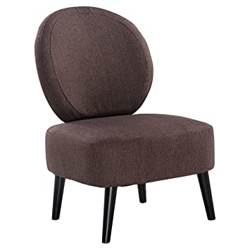 Giantex Armless Accent Chair ,Round Back Dining Chair, Home Living Room  Furniture (Brown