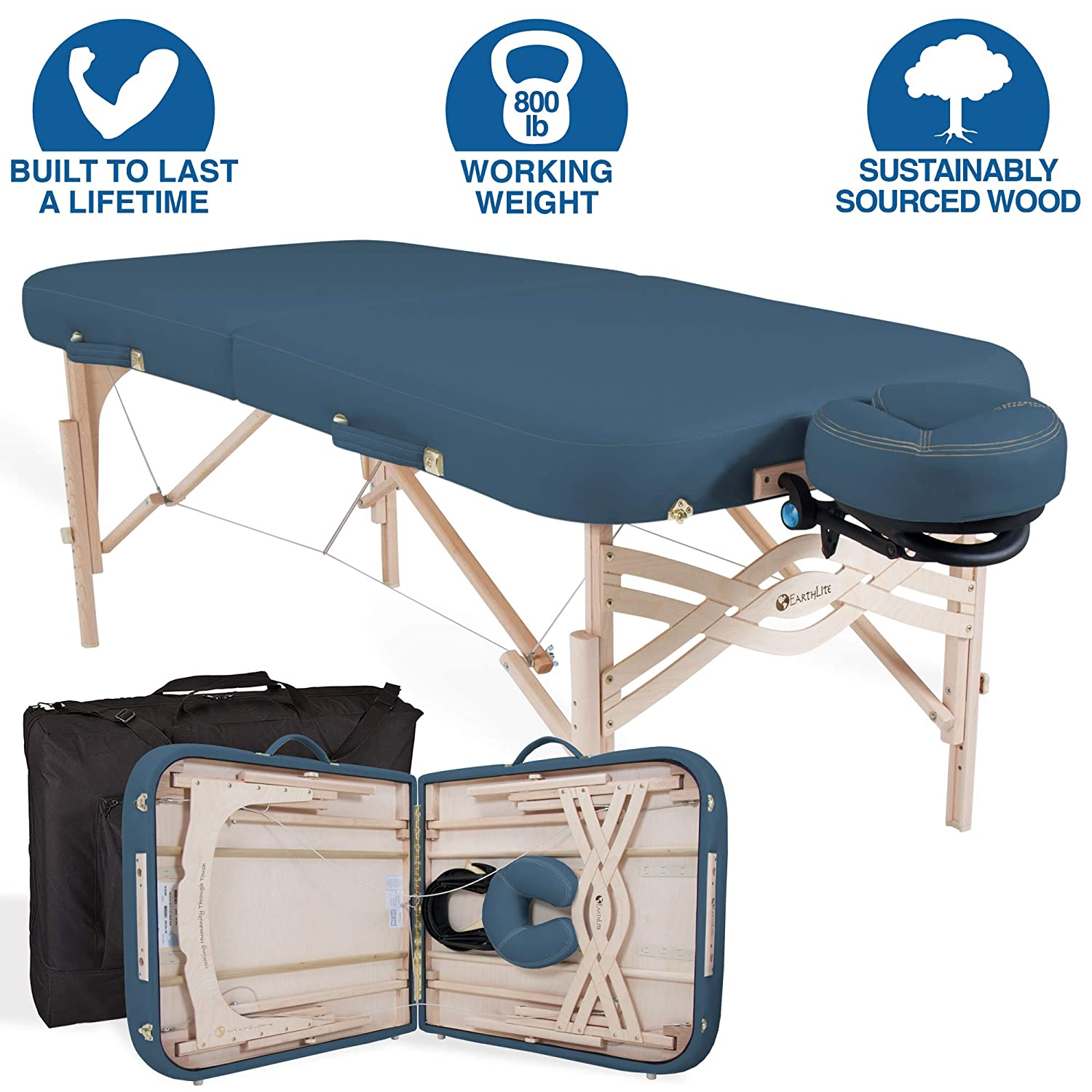EARTHLITE Premium Portable Massage Table Package SPIRIT – Spa-Level Comfort, Deluxe Cushioning incl. Flex-Rest Face Cradle Strata Face Pillow, Carry Case 30 32 x 73 – Made in USA