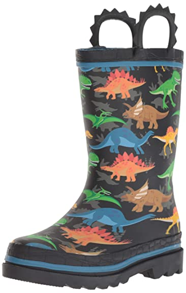 259fcb26d09f8 Western Chief Kids Waterproof Printed Rain Boot with Easy Pull On Handles,  Dino World,