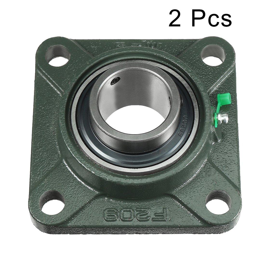 sourcingmap/® 2pcs Roulement lisse UCF205 25mm mont/é /à embase carr/ée Palier