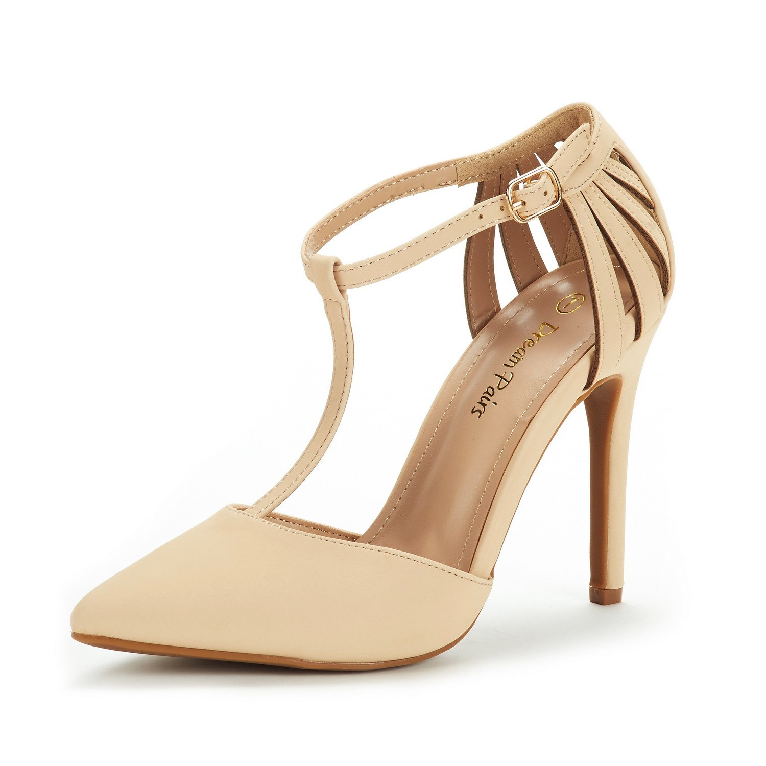 DREAM PAIRS Women's Oppointed-Mary Nude Nubuck Fashion Dress High Heel Pointed Toe Wedding Pumps Shoes Size 8 M US