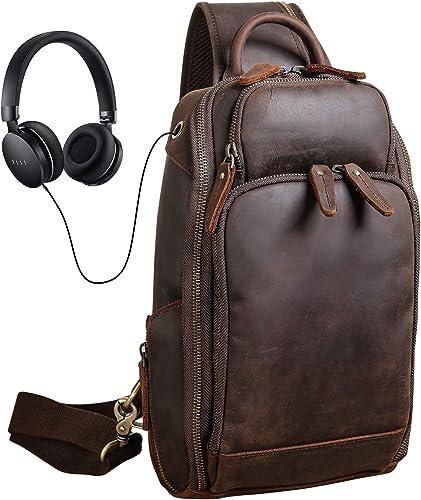 Texbo Men's Full Grain Leather Sling Crossbody Chest Bag Casual Shoulder Travel Hiking Daypacks Dark Brown-Large