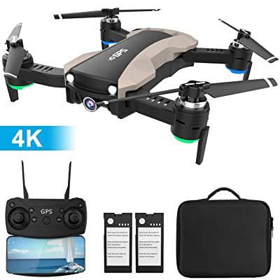 GPS Drone with 4K Camera 5G WiFi FPV RC Quadcopter for Adults Auto Return Home Function Follow Me with Portable Carry Case 2 Batteries Foldable Drones for Beginners: Toys & Games