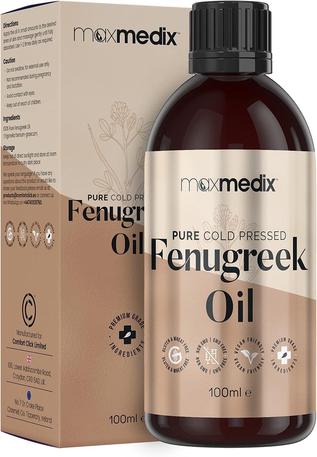 Aceite de Fenogreco 100ml - Aceite 100% Puro Por Prensado en Frío MaxMedix - Aceite de Masaje para Escote, Cuerpo, Manos y Cabello - Ayuda Natural ...