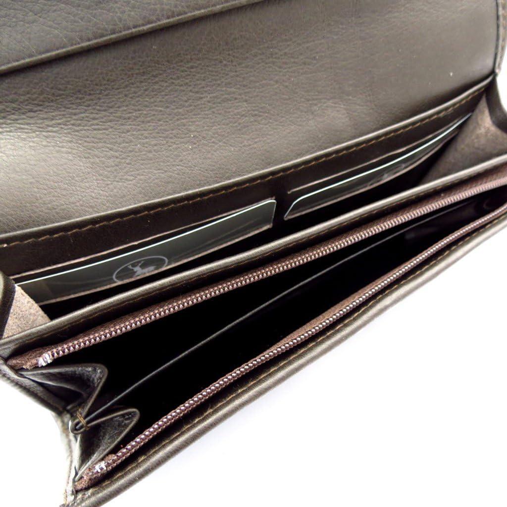 Large leather wallet Frandi dark brown.