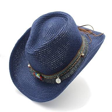 RZL Sombreros Gorras Para Caballero Western Word Cowgirl Jazz Cap Verano Straw Beach Sun Hat,