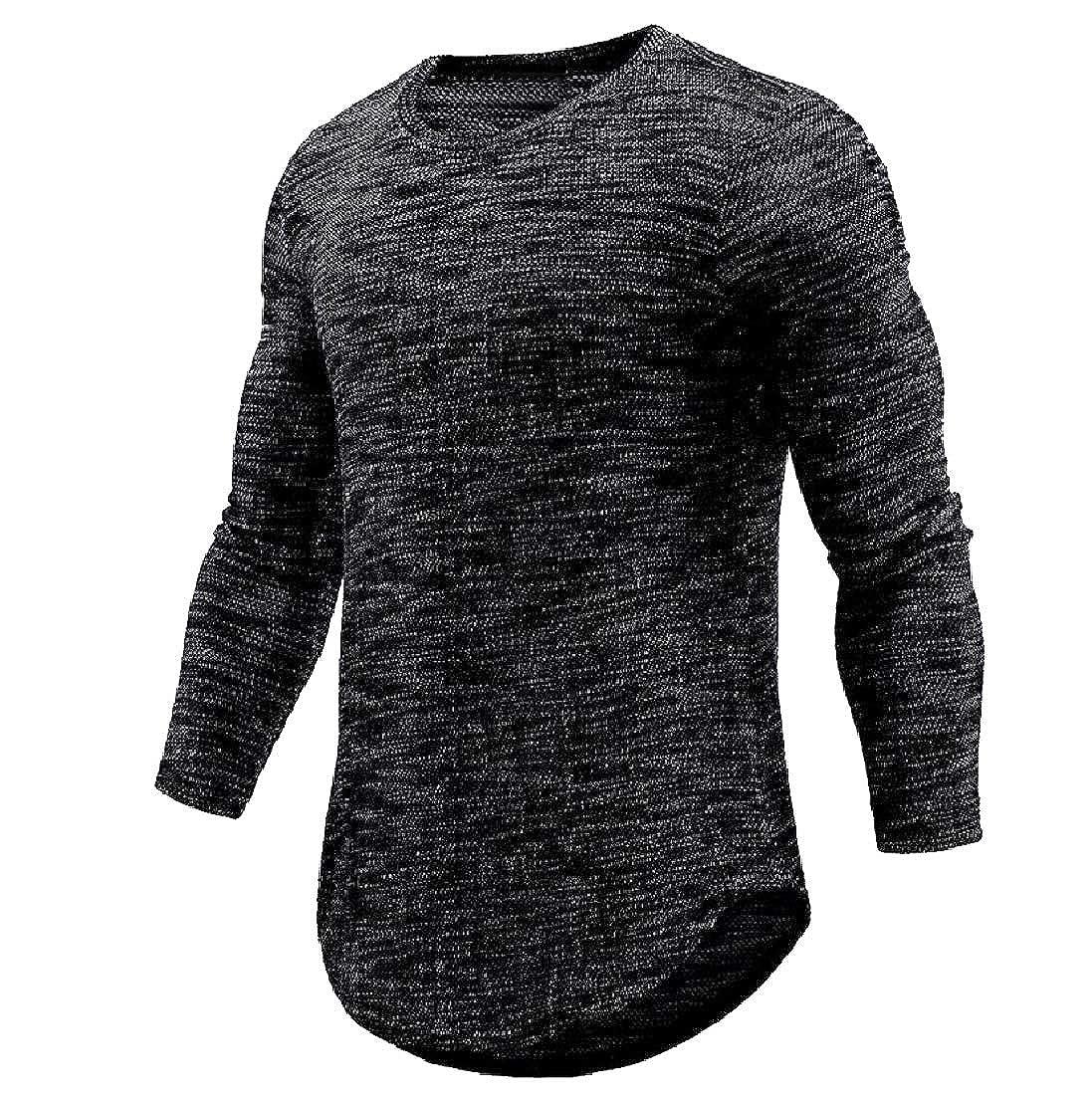 Men Trendy Crew-Neck Solid Color Plus Size Casual Tee Shirt
