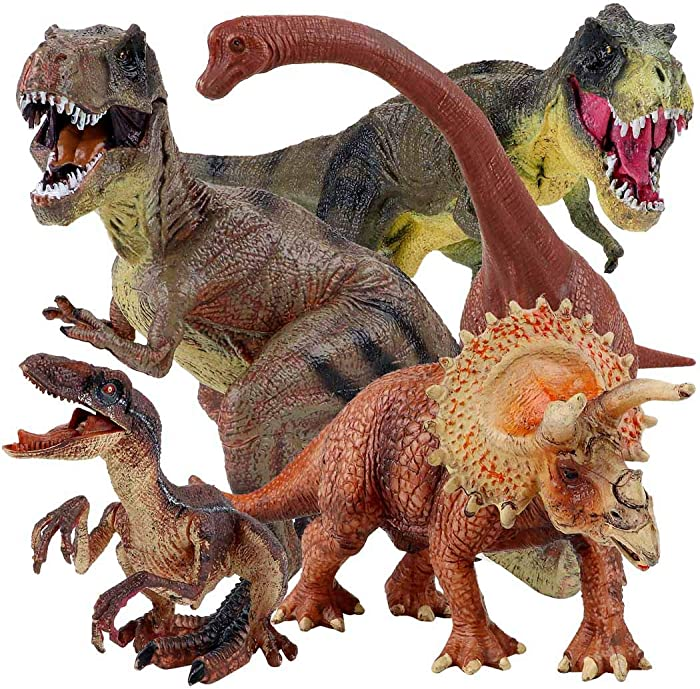 "Winsenpro 5PCS Jumbo Dinosaur Set,13"" Realistic Looking Dinosaur Toy Set for Party Gift,Boys Girls Children's Birthday Gifts (5PCS Dinosaurs)"