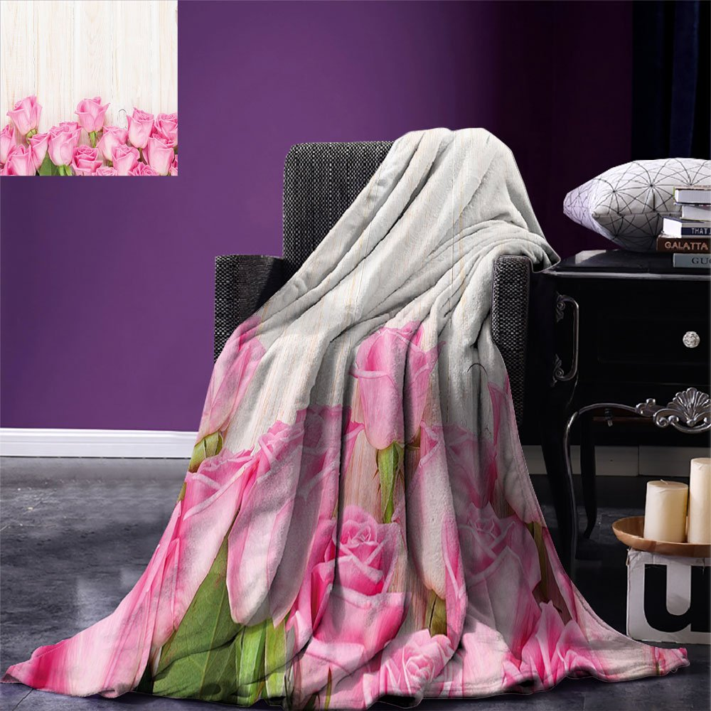 smallbeefly Rose Digital Printing Blanket Love Valentines Day Celebration Inspired Composition Flowers Wood Planks Print Summer Quilt Comforter Pink Green Cream by smallbeefly (Image #1)