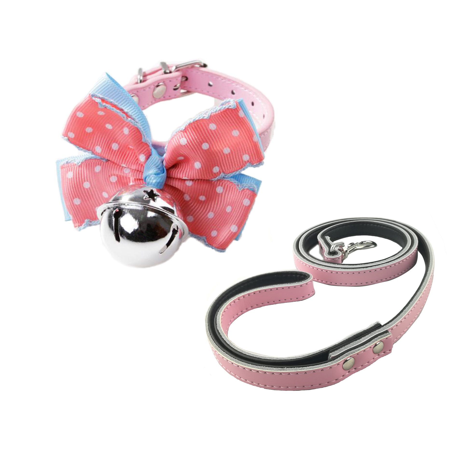 Newtensina Dog Collar Bow Tie with Silver Bells and Leash Cute Kitten Bell Dog Bow Tie Collar with Dog Lead for Small Dogs