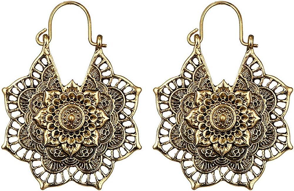 Hoop Balancer Mandala Boh/èMe Boucles doreilles Cathyoyo Boucles doreilles Pendantes Femme-Antique Argent Gitan Indien Tribal Ethnique