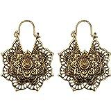 Antique Silver Gypsy Indian Tribal Ethnic Hoop Dangle Mandala Boho Earrings (Gold)