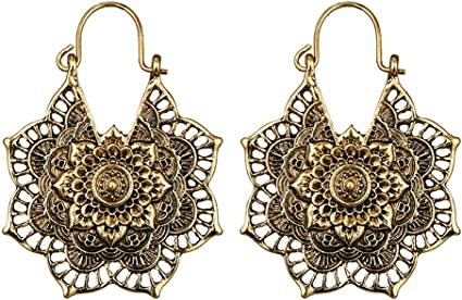 Sri Yantra Drop Earrings,Geometric Earring,Tribal Earrings,Boho Earrings,Circle Earrings,Drop Earrings,Ethnic Earrings,Gypsy gift for her107