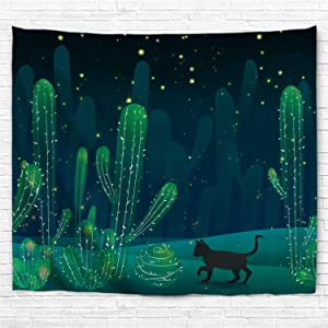 IcosaMro Cactus Tapestry Wall Hanging Cat Hippie Cute Cacti Art Wall Decor (Hemmed Edges) for Bedroom Living Room College Dorm, 60x82.7 Inch, Green