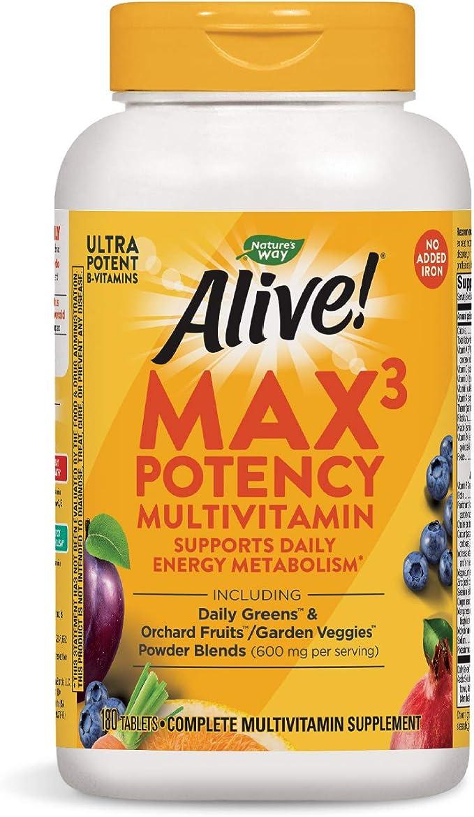 Imagen deNature 's Way Alive. Premium fórmula MAX3diario multi-vitamin, no hierro añadido, 180tabletas