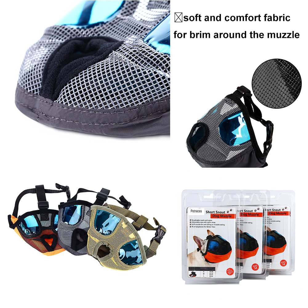 Petneces Dog Muzzles, Soft Mesh Muzzles Mouth Mask for Dog, Best to Anti Barking and Biting, Allows Nose Breath Easily(L, Grey) by Petneces (Image #3)
