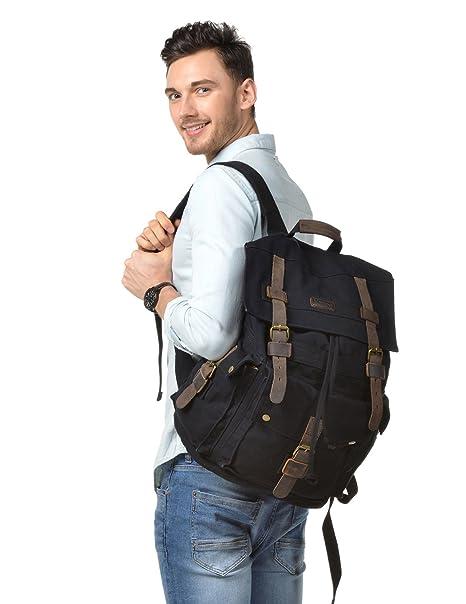 df49e80afc Kattee Men s Leather Canvas Backpack Large School Bag Travel Rucksack Black