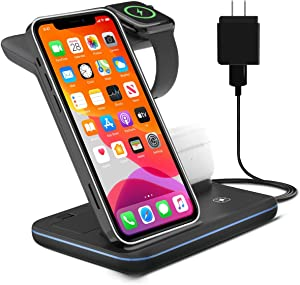 Elegant Choise 3 in 1 Wireless Charger Stand,15W Fast Charging Station Dock,Apple Watch Charger for Apple iWatch Series 5/4/3/2/1,Compatible with iPhone 11/11pro/XR/SE/12