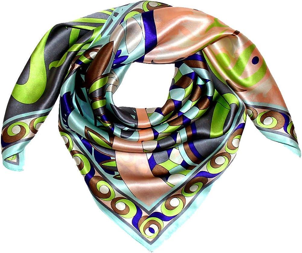 100/% Seide Luxus Damen Seidentuch XL Satin Tuch Seidensatin 110 cm x 110 cm aufw/ändig mehrfarbig bedruckt bunt Lorenzo Cana