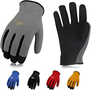 Vgo 5-Pairs Light-Duty Artificial Leather Work Gloves, Multi-Purpose & 360° Breathable Gloves, High Dexterity, Abrasion Resistant, Superior Colorfastness (Size L, 5 Colors, AL8736)