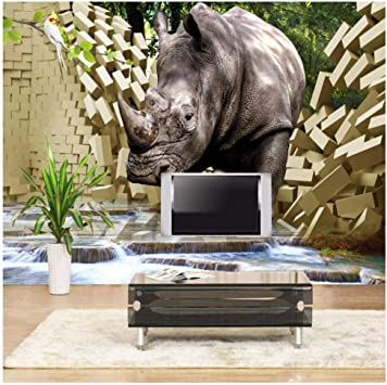 Mural Grande Papel De Pared Estéreo 3D Rhino Roto Pared Tv Fondo ...