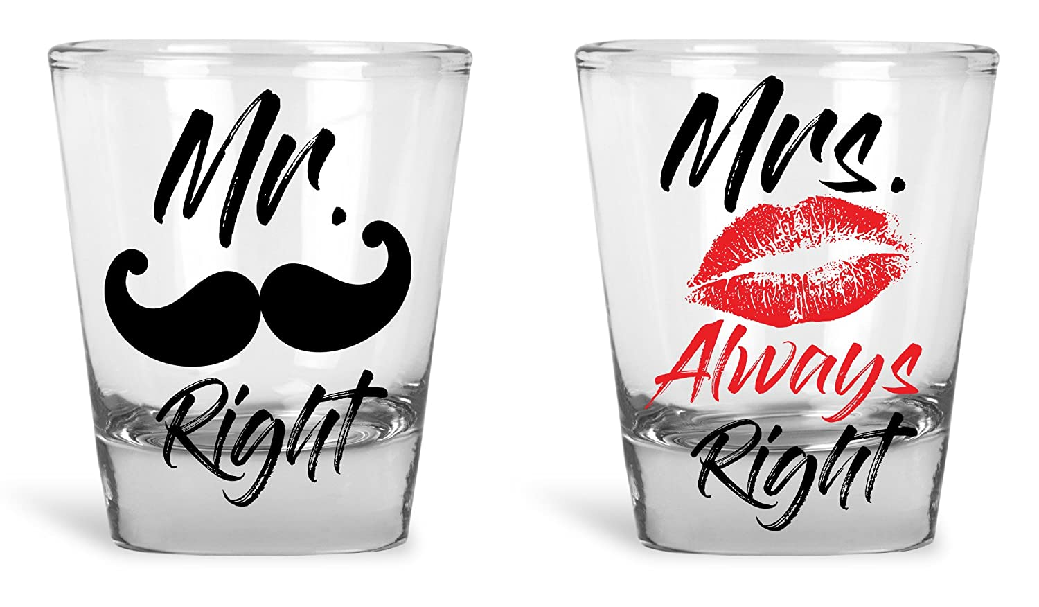Funny Wedding Gifts For The Couple - Mr. Right and Mrs. Always Right Novelty Shot Glass Set - Bride and Groom Gifts With Box - Engagement, Wedding, Anniversary, Holiday Gifts by Funny Bone Products