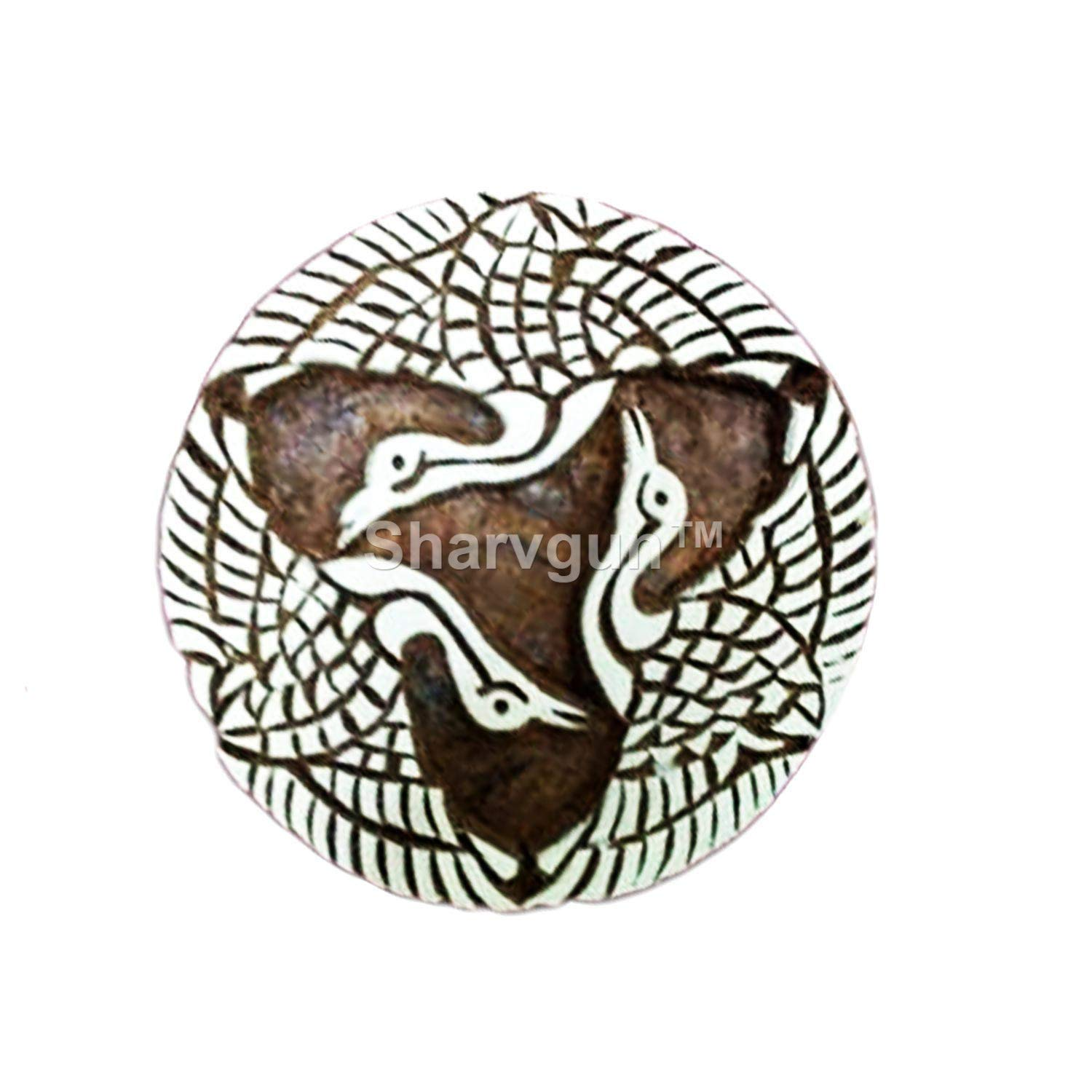 Sharvgun Three Birds in Round Wooden Textile Stamps Indian Print Blocks Pottery Clay Tattoo Scrapbook Art Stamp