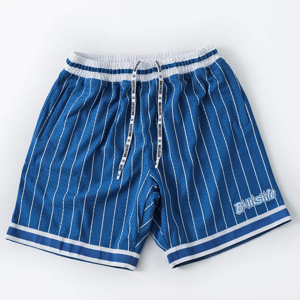 Ballislife NS Mesh Basketball Shorts w//Zipper Pockets Retro Athletic Shorts