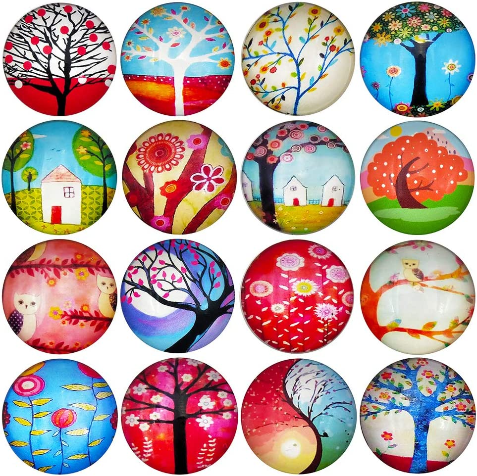 HYSH 16pcs Abstract Tree Refrigerator Beautiful Fridge Magnets Photo Decorative Glass Funny Office Cabinets Whiteboards Best Housewarming Gift (plant)
