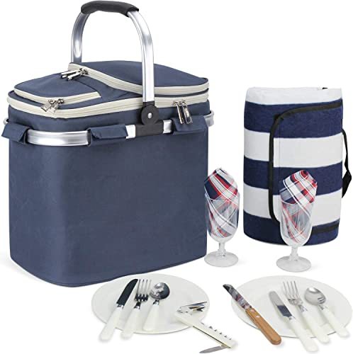 HappyPicnic 20L Picnic Basket for 2 with Waterproof Blanket and Full Cutlery Set Large Size Cooler Portable Collapsible Insulated Cooler Bag with Aluminium Handle Blue