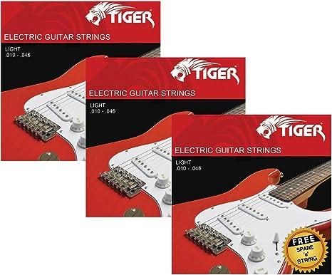 Tiger - Cuerdas para guitarra eléctrica – Pack de 3 juegos de luces (10-46): Amazon.es: Instrumentos musicales