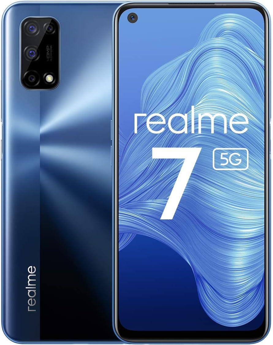 realme 7 5G - smartphone de 6.5, 6GB RAM + 128GB de ROM, 120Hz Ultra Smooth Display, 48MP Quad Camera, batería con 5000mAh y carga de 30W Dart Charge, Color Azul