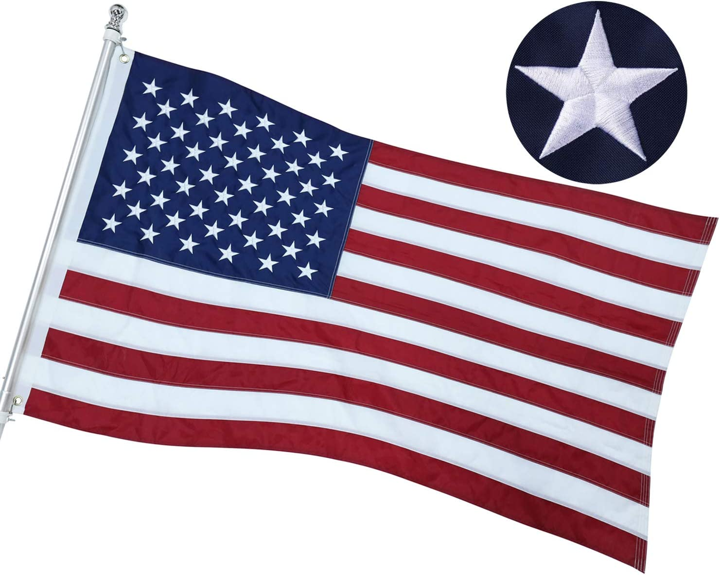 Atoah American Flag 2x3 Ft, Heavy-Duty US Flag 100% Made in USA with Embroidered Stars/Sewn Stripes/Brass Grommets, Tough Durable Fade Resistant USA Flag Built for Indoor Outdoor Use
