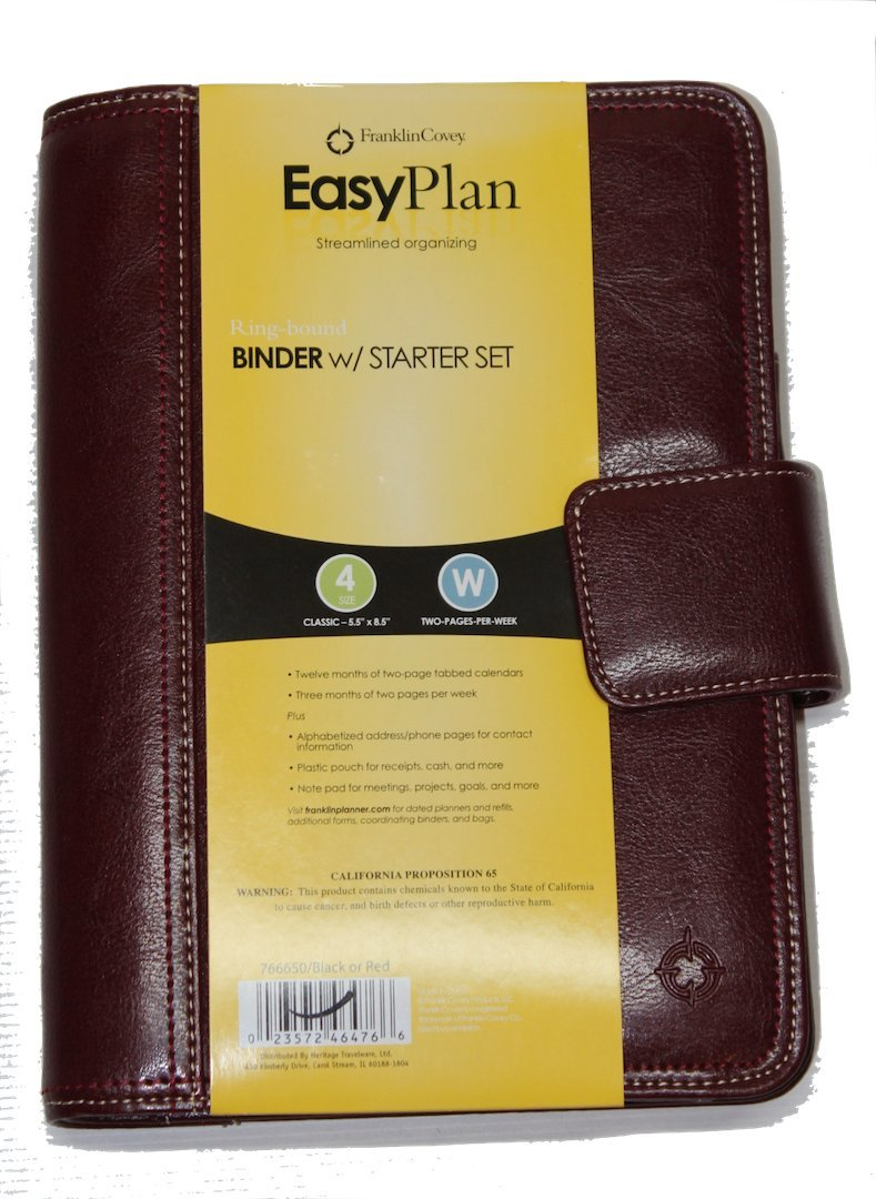 FranklinCovey EasyPlan Ring-bound Leather Binder w/Starter Set Undated 5.5 x 8.5 Inches 766650 Red