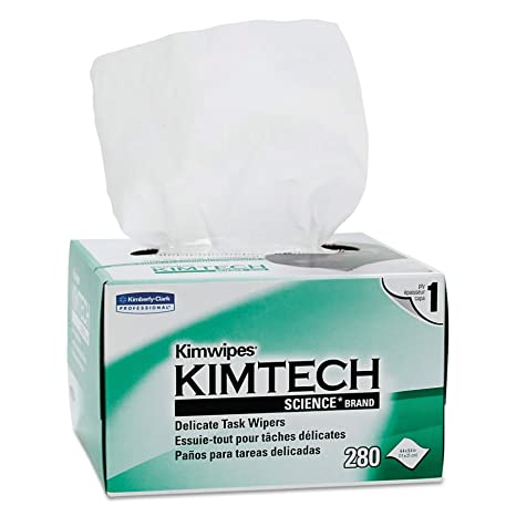 "Kimberly-Clark Kimtech Science 34120 Kimwipes Delicate Task Disposable Wiper, 8-25/64"" Length x 4-25/64"" Width, White (30 Cartons of 280) at amazon"