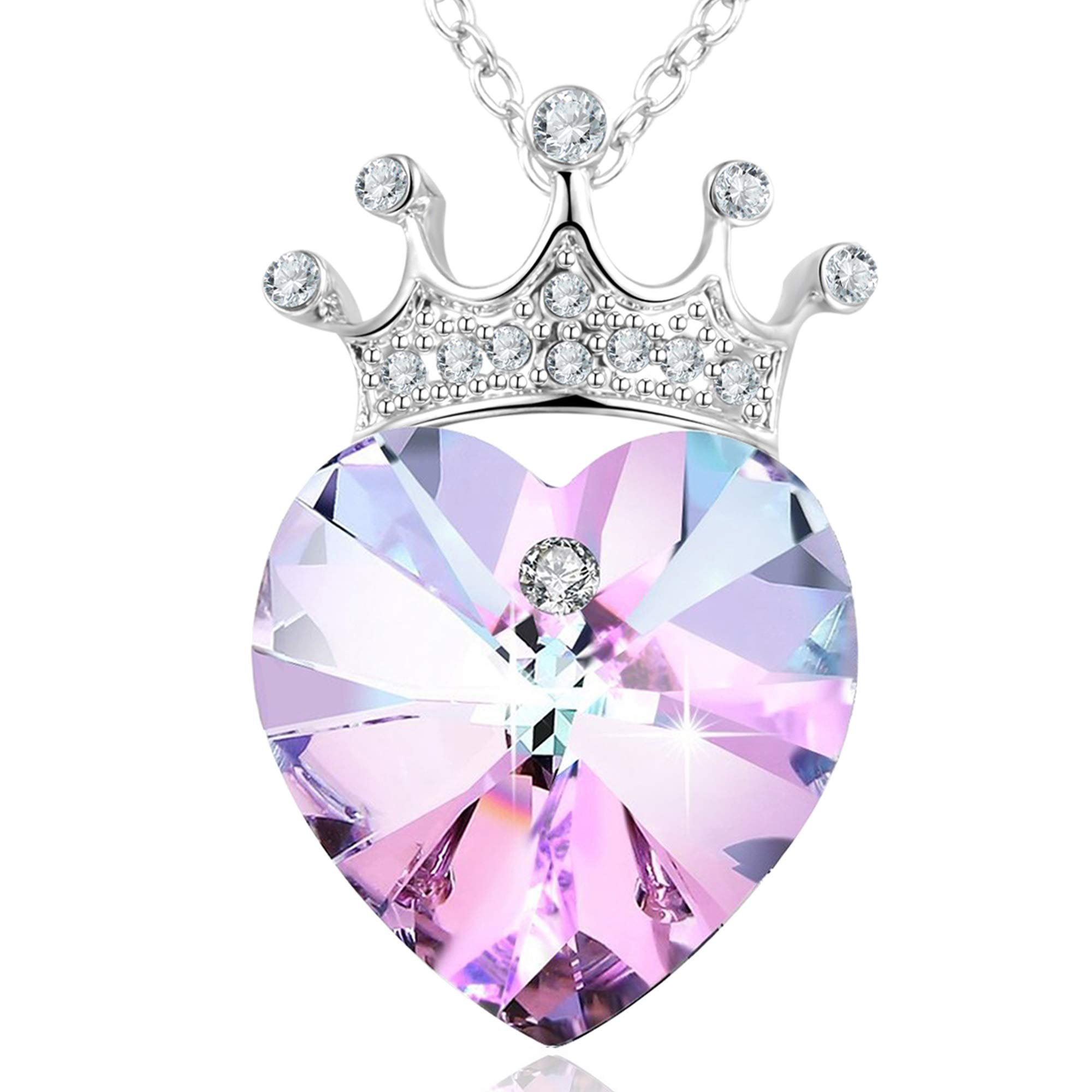 Angelady Love Queen Crown Purple Love Heart Pendant Necklace Chain with Amethyst for Women Girls, Gift for Mother Mom Wife Girlfriend, Crystal from Swarovski