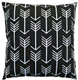 JinStyles Arrow Cotton Canvas Decorative Throw Pillow Cover (Black and White, 18 x 18 inches)