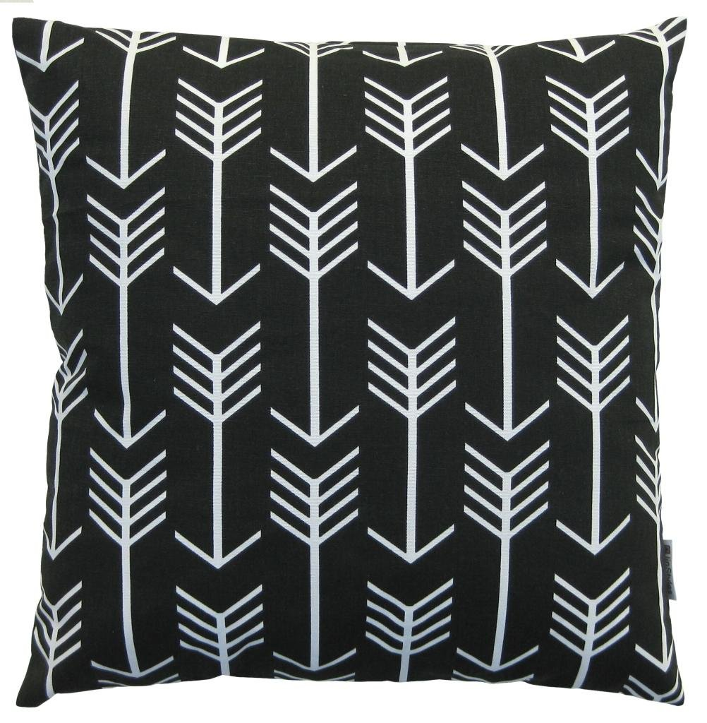 amazoncom jinstyles arrow cotton canvas decorative throw pillow cover black and white 18 x 18 inches home u0026 kitchen