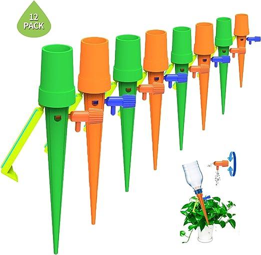 Heatigo 12 unidades de riego para macetas de plantas, sistema de riego ajustable para flores, ideal para suministro de agua durante tus vacaciones: Amazon.es: Jardín