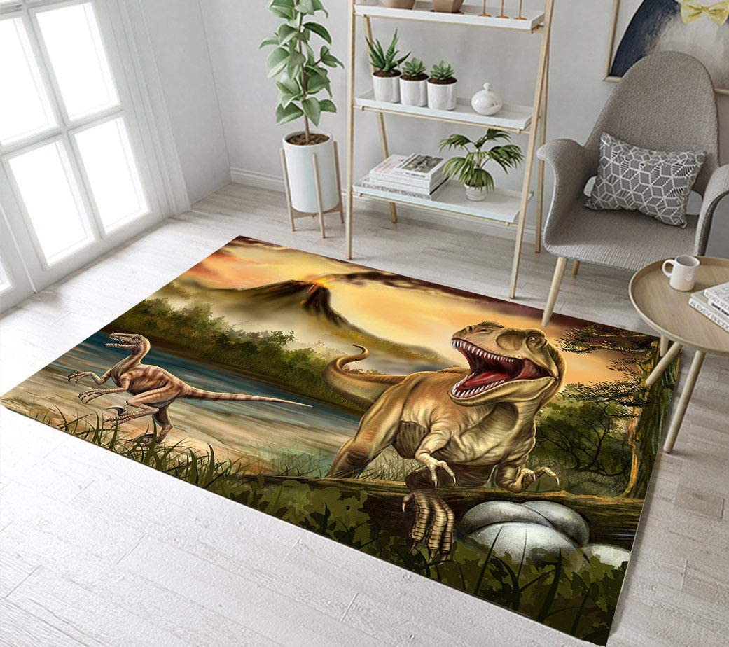 lovedomi European Minimalist ins Jungle Dinosaur Landscape Pattern Home Carpet Living Room Carpet Childrens Play mats Restaurant Coffee Table Kitchen Children Soft Carpet Anti-Slip mat 40x60cm