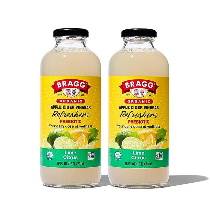Bragg Organic Apple Cider Vinegar Beverage, Lime Citrus - 16oz, 2 Pack