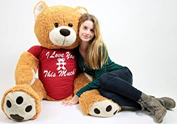 12ce0764007 Big Plush Giant Romantic Teddy Bear Five Feet Tall Honey Brown Color Wears  Tshirt that says I LOVE YOU THIS MUCH