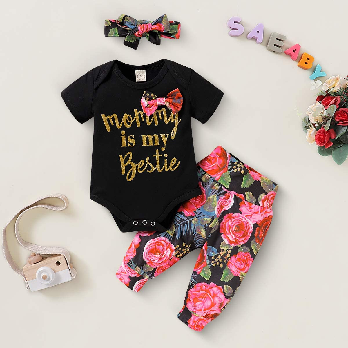 Long Pants Hat Cap Outfits Clothes Set Newborn Toddler Baby Girls T-Shirt Tops
