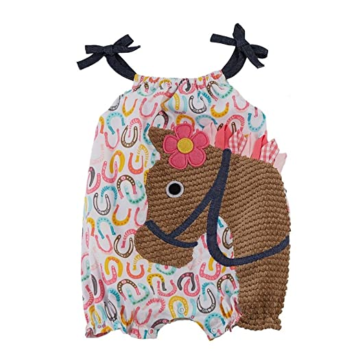 c30d826a2a17 Amazon.com  Mud Pie Baby-Girls Newborn Horse Bubble  Clothing