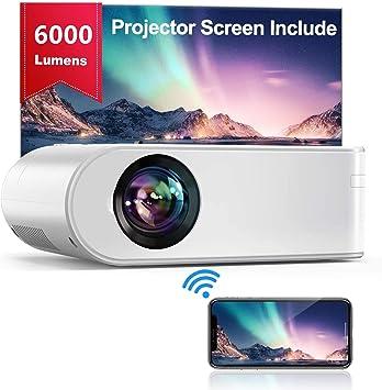 Proyector WiFi, YABER Mini Proyector Portátil 6000 Lúmenes 1080P Full HD[Pantalla de Proyector Incluida], Cine en Casa 200