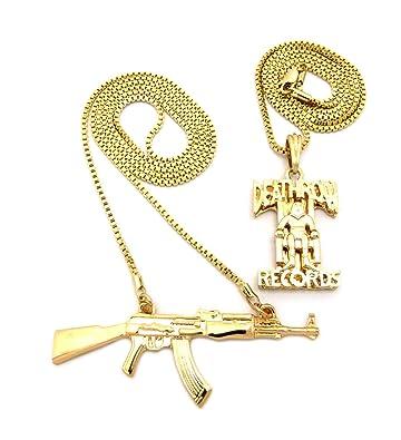 New machine gun death row records pendant box chains hip hop new machine gun death row records pendant box chains hip hop necklace set rc1347g aloadofball Choice Image