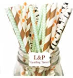 Charmed Forest Woodland Animal Theme Paper Straw in Brown Stripe Green, Orange and Ash Print
