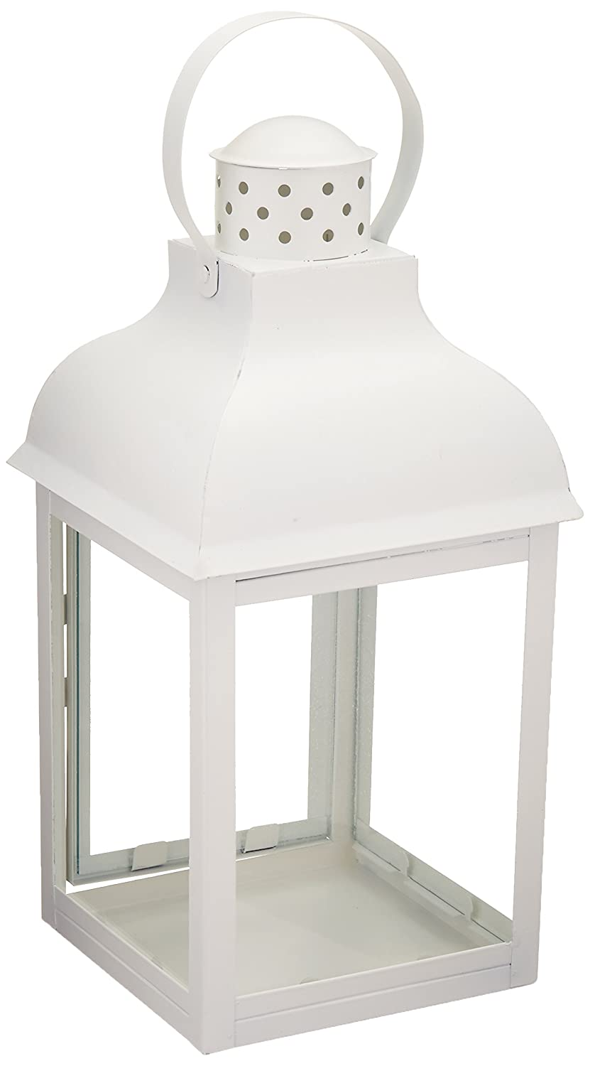 White Locomotion Gable Style Lantern Candle Holder Tall | ChristmasTablescapeDecor.com