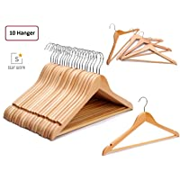STAR WORK Multi Functional Solid Wooden Suit Hangers, Coat Hangers, Natural Finish with 2 Shoulder Notches 360 Degree Swivel Hook